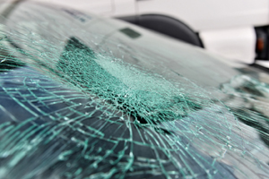 A shattered windshield before being repaired by the Best Window Company in Geneseo IL