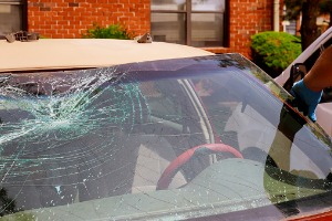 A shattered windshield requiring Windshield Replacement in Galesburg IL